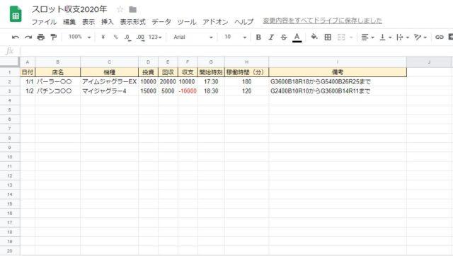 スロット収支表例1